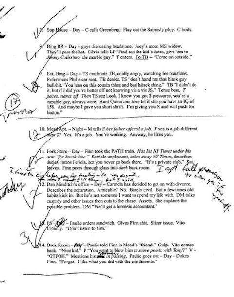 escribir-guiones-a-mano-borrador-de-Los-Soprano-02 Por qué deberías escribir los guiones a mano