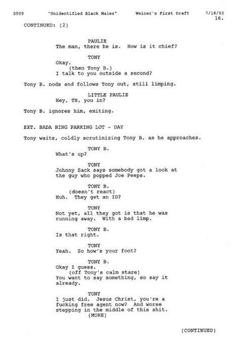 escribir-guiones-a-mano-guion-de-Los-Soprano Por qué deberías escribir los guiones a mano