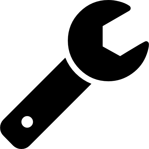 icon open wrench tool silhouette