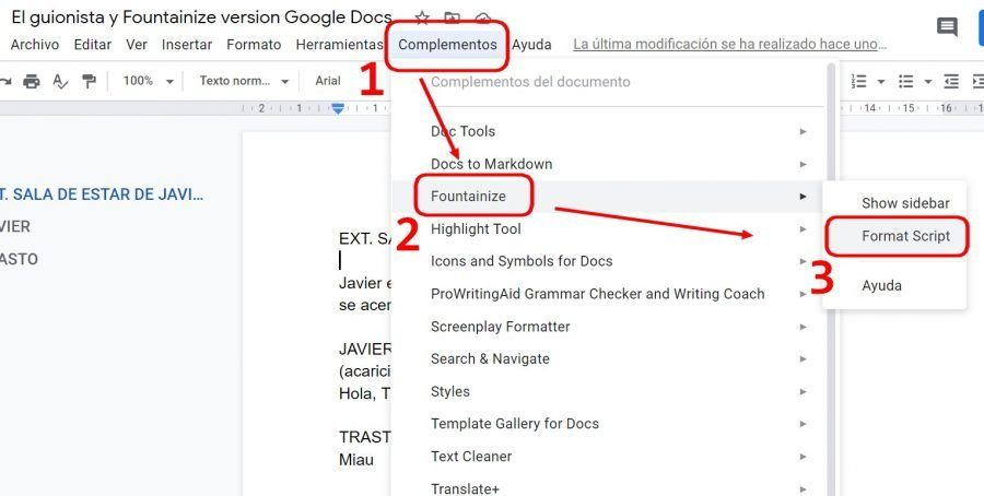 Cómo escribir guiones con Google Docs